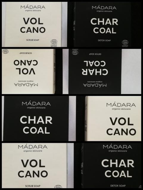 Mustaa ja valkoista saippuaa -Madara CHARCOAL Detox Soap + VOLCANO Scrub Soap