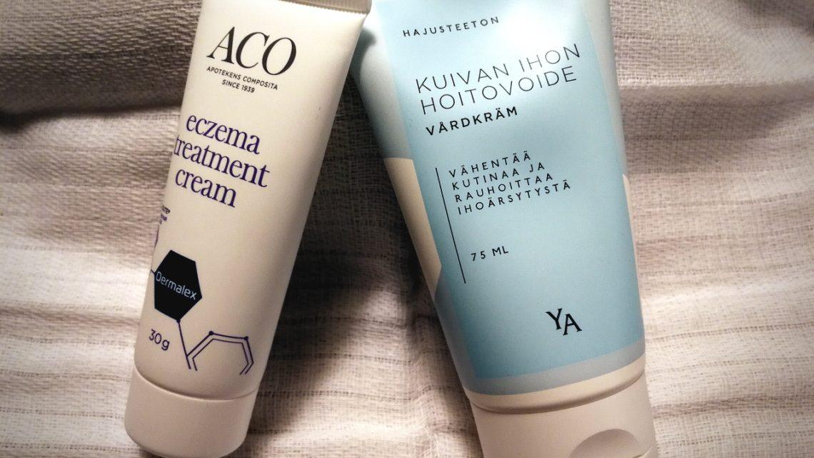 Kuivan, atooppisen ihon voiteita apteekista kohtuuhintaan: YA Kuivan ihon hoitovoide ja ACO eczema treatment cream